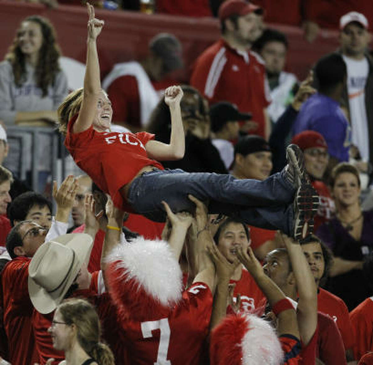 Another shot of UH fans celebrating a first-half touchdown.