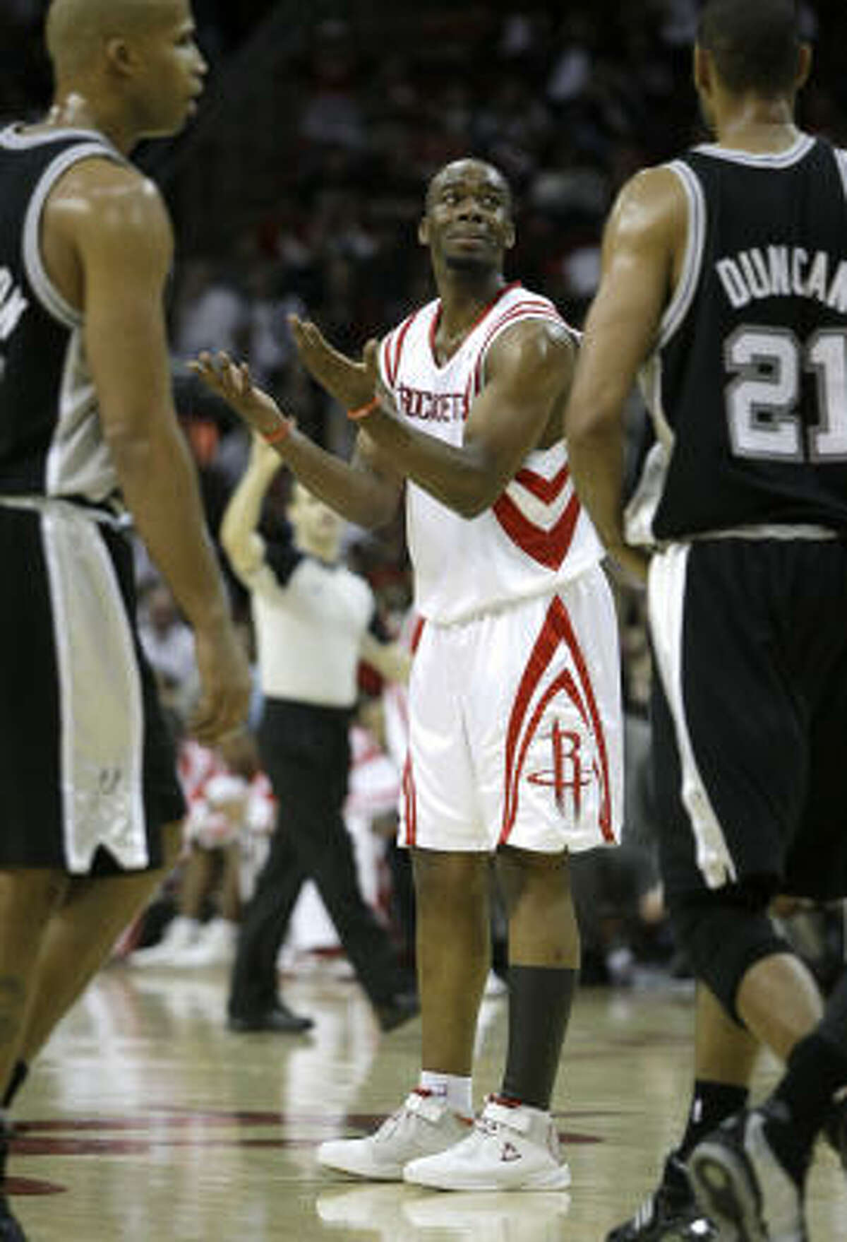 Rockets forward Carl Landry protests a second-half foul call.