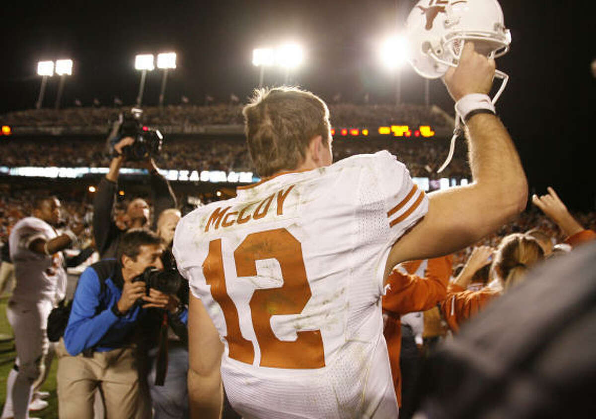 Colt McCoy celebrates Texas' win.