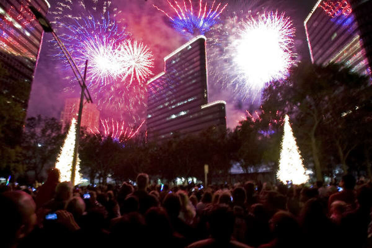 About 100,000 people gathered at Uptown Holiday Lighting along Post Oak Boulevard.