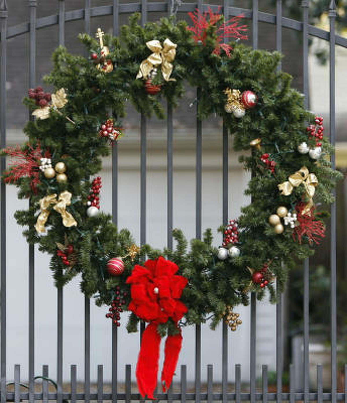 WREATH: Most experts recommend soaking fresh greenery overnight. Nurseries carry anti-transpirants to help seal in moisture. These are worth the modest expense. Spray the wreath regularly after it has been hung. Do not use on juniper berries or blue spruce, because it will damage them. Mist those frequently with water to keep your wreath fresh and less likely to catch fire. Keep the wreath away from heat sources. Make your own holiday wreath | 2009 Christmas tree farm list | Holiday plant FAQ | Video: Make an easy holiday topiary | Gallery: Holiday wreaths | Submit your garden photos | Houston Plant Database | HoustonGrows.com
