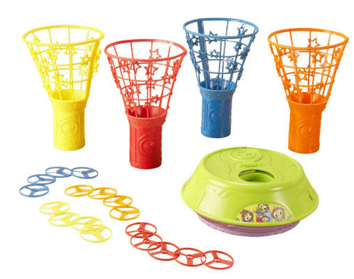"Mattel's Saucer Scramble ($40, ages 5 and up) shoots small, lightweight plastic disks up 6 feet or higher. As they fall, players race to collect them in colorful cone-shaped ""nets."""