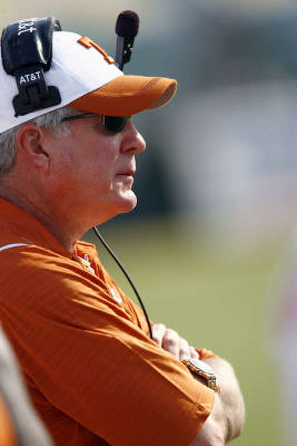 Texas coach Mack Brown knows his defense will be key if the Longhorns are going to possibly secure a place in the BCS title game. Photo: Tom Pennington, Getty Images