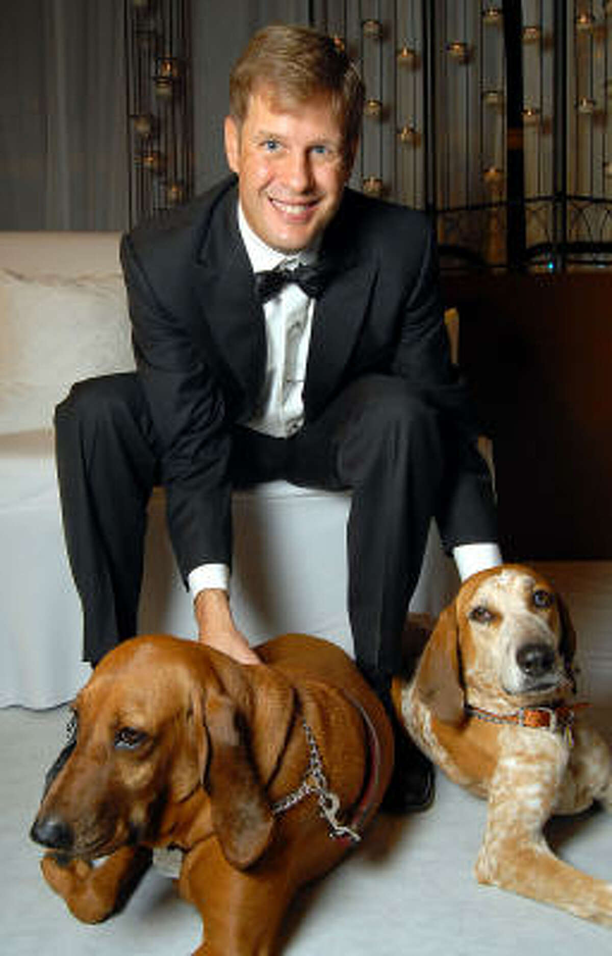 Randy Wade with Abby and Beatrice at the 23rd Annual Celebrity Paws Gala benefiting Citizens for Animal Protection's Shelter and Pet Adoption Center at the Hilton Americas Hotel. Wade's dogs shared the award for 2009 Celebrity Pet of the Year.
