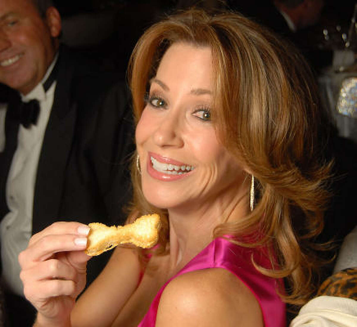 Kari Parsons with her bone-shaped bread at the 23rd Annual Celebrity Paws Gala.