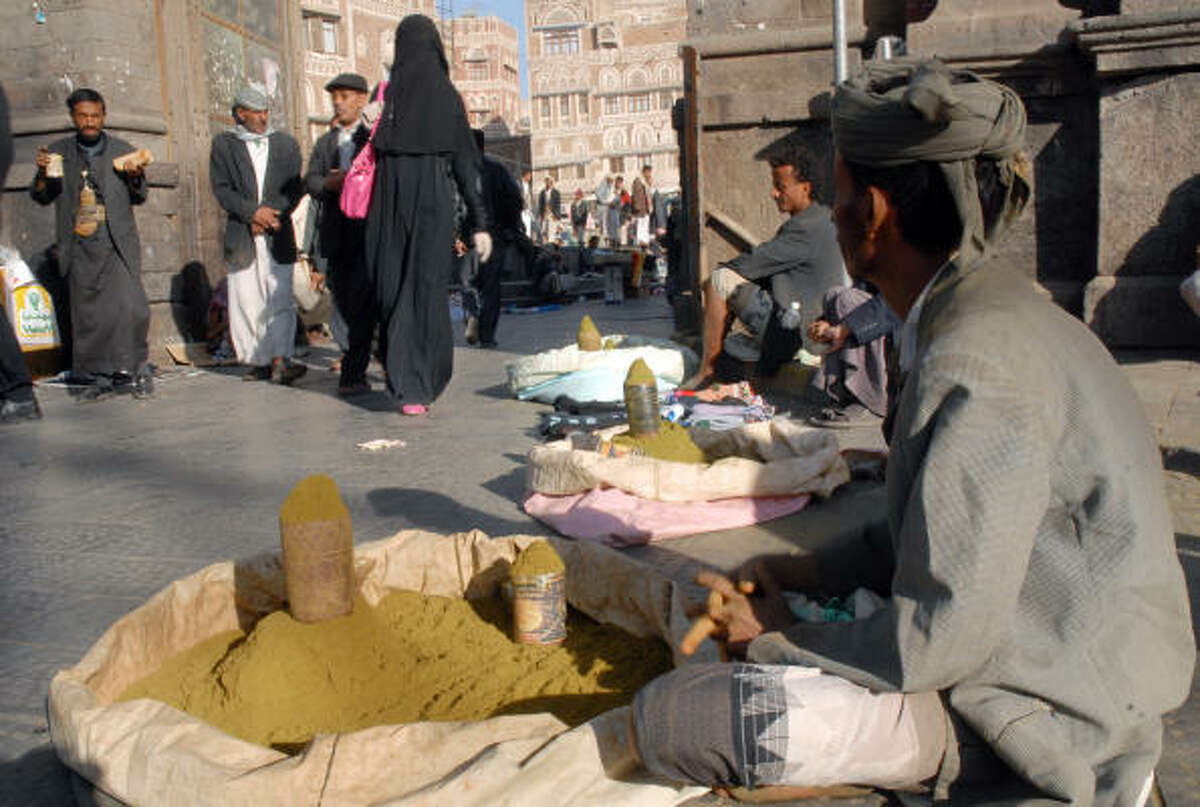 Besides its use in body painting, henna is also used in as a dye and preservative for leather and cloth. It has also been used medicinally such as in the treatment of burns and other skin problems such as boils. It is also used as a remedy for headaches.In this photo, Yemeni street vendors sell henna in Old Sanaa's Bab Al-Yaman (Yemen gate) quarter on November 16, 2009.
