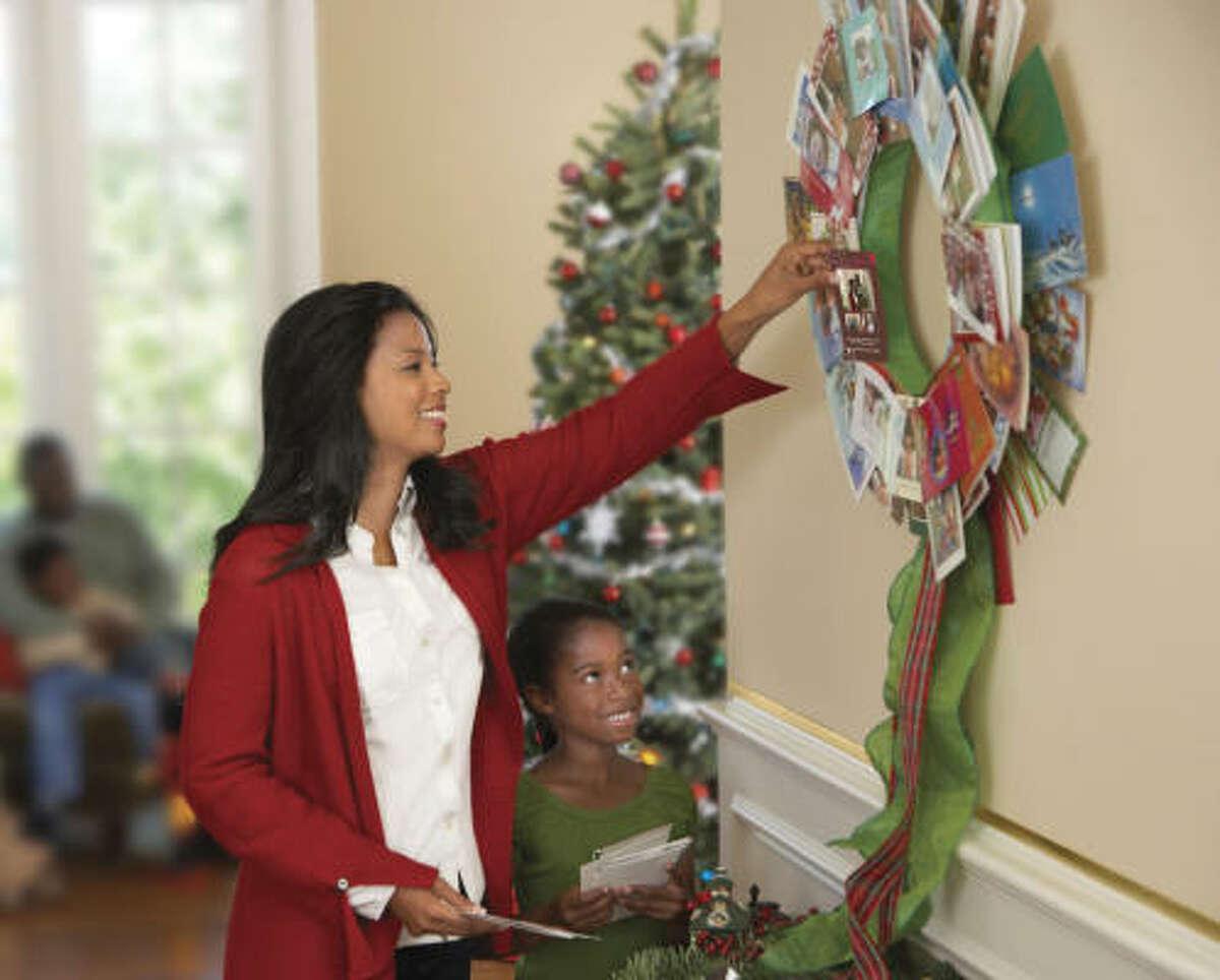 A holiday card wreath.
