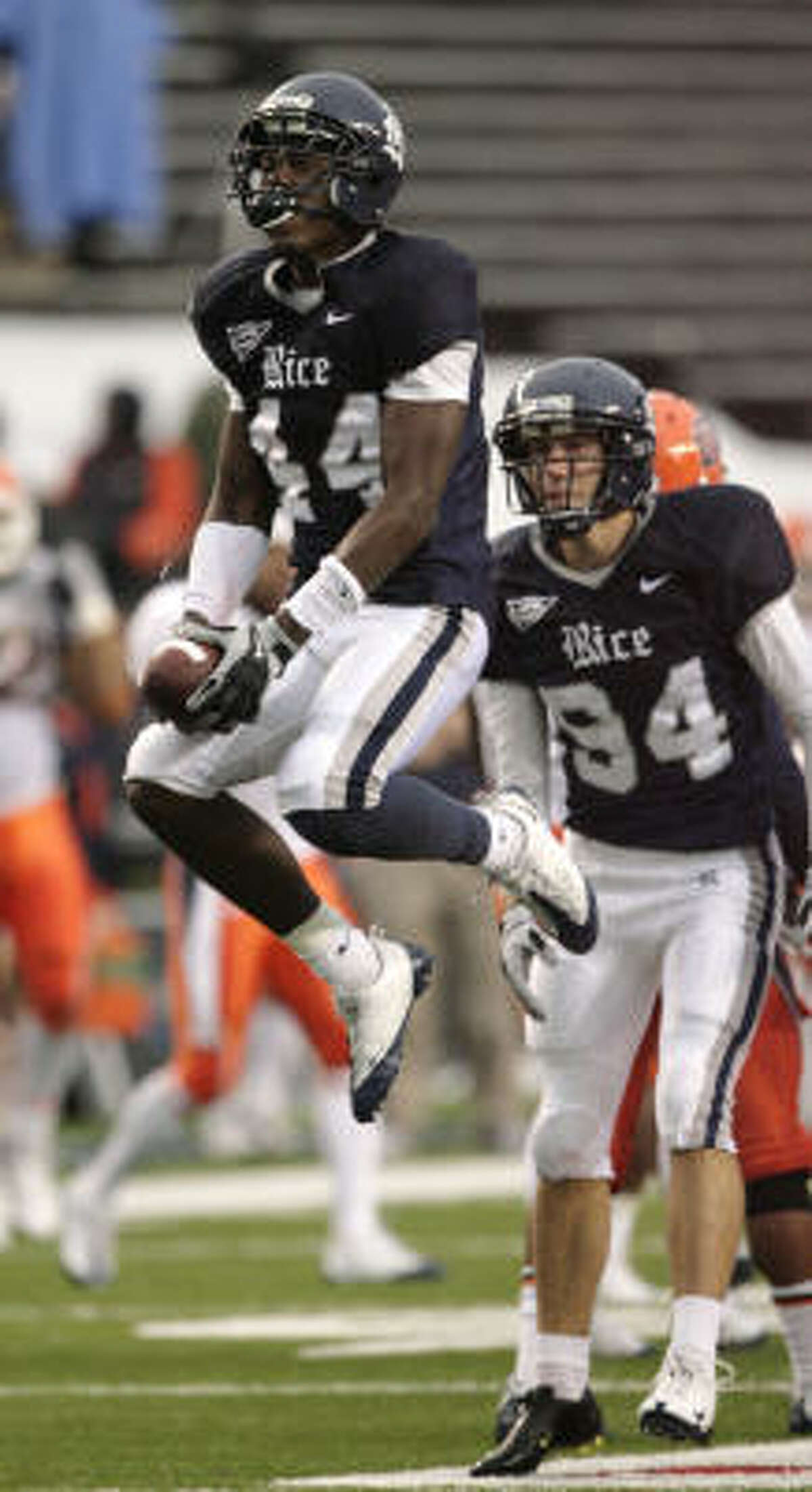 Rice defensive back Chris Jones celebrates after picking up a fumble on a kickoff return during the fourth quarter of Saturday's game against Texas-El Paso.