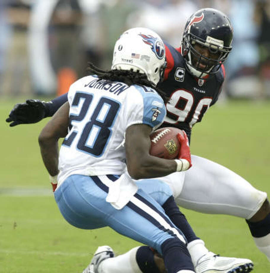 Sept. 20, 2009:The Texans overcame Titans running back Chris Johnson, who rushed for 197 yards and three touchdowns, for a 34-31 victory over the defending AFC South champions in Nashville. Texans quarterback Matt Schaub threw for 357 yards and four touchdowns, and Kris Brown kicked a 23-yard field goal in the closing minutes. Photo: Brett Coomer, Chronicle