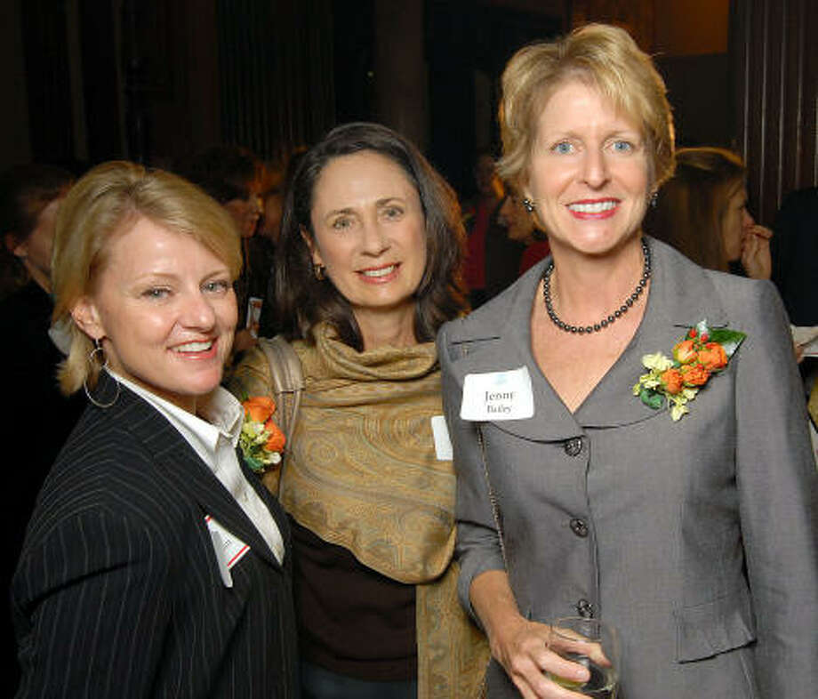 From left: Susan Christian, Sis Johnson and Jenny Bailey at the Great Women in Government reception sponsored by the Girl Scouts of San Jacinto Council at the Julia Ideson Library. Photo: Dave Rossman, For The Chronicle