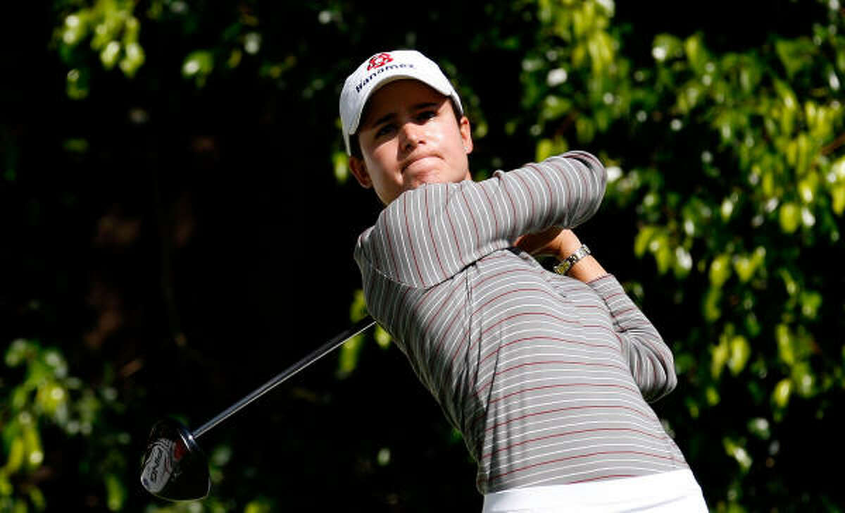 Lorena Ochoa Mexican star is tied with Shin for lead in victories this season, with three, and leads tour in scoring average at 70.22.