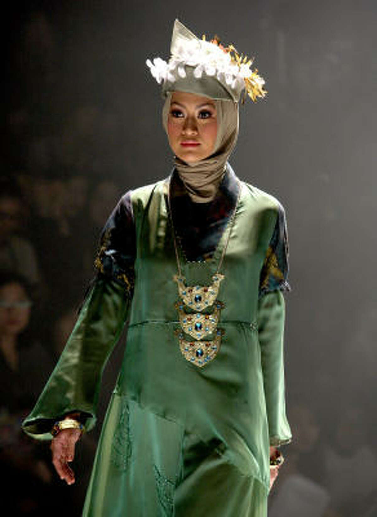 A model showcases designs on the runway by Nieta Hidayani as part of Jakarta Fashion Week 2009 in Jakarta, Indonesia.