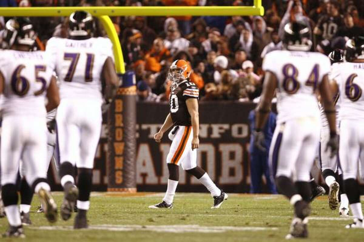 Nov. 16: Ravens 16, Browns 0 Browns quarterback Brady Quinn walks off the field after throwing an interception that was returned for a touchdown in the third quarter.