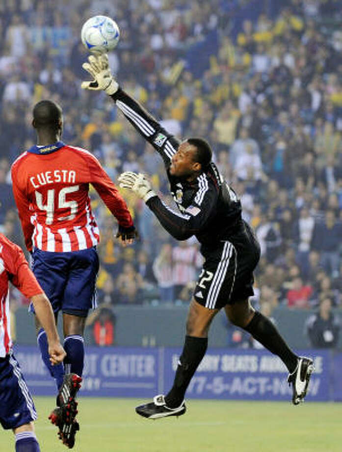 GoalkeeperZach Thornton, Chivas USAThe 14-year MLS veteran was voted the 2009 Goalkeeper of the Year and Comeback Player of the Year after leading all goalkeepers with 0.87 goals against average and 12 shutouts, and leading Chivas USA to a fourth consecutive playoff appearance. Photo: Kevork Djansezian, Getty Images