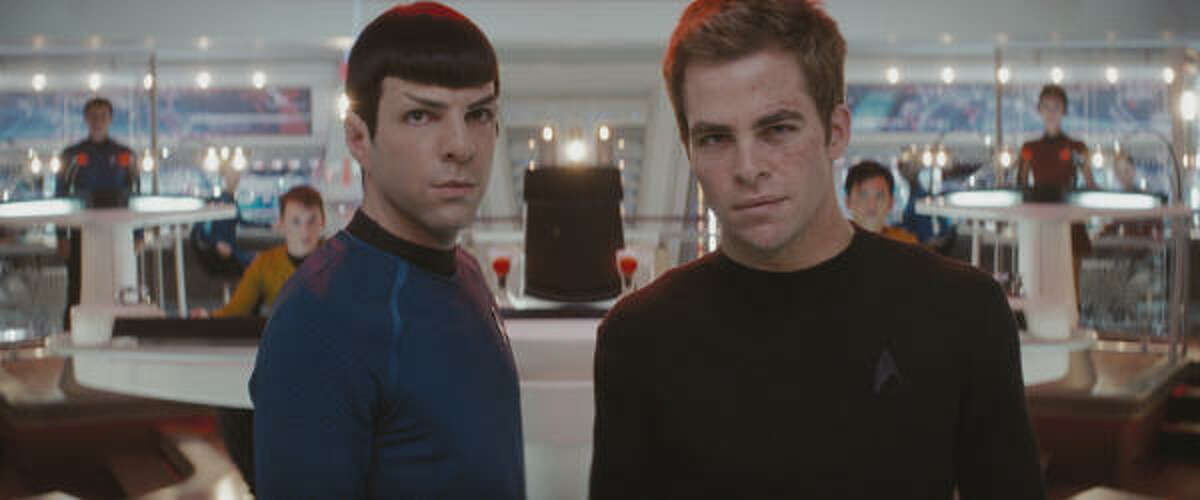 Spock (Zachary Quinto, left) and James T. Kirk (Chris Pine, right).