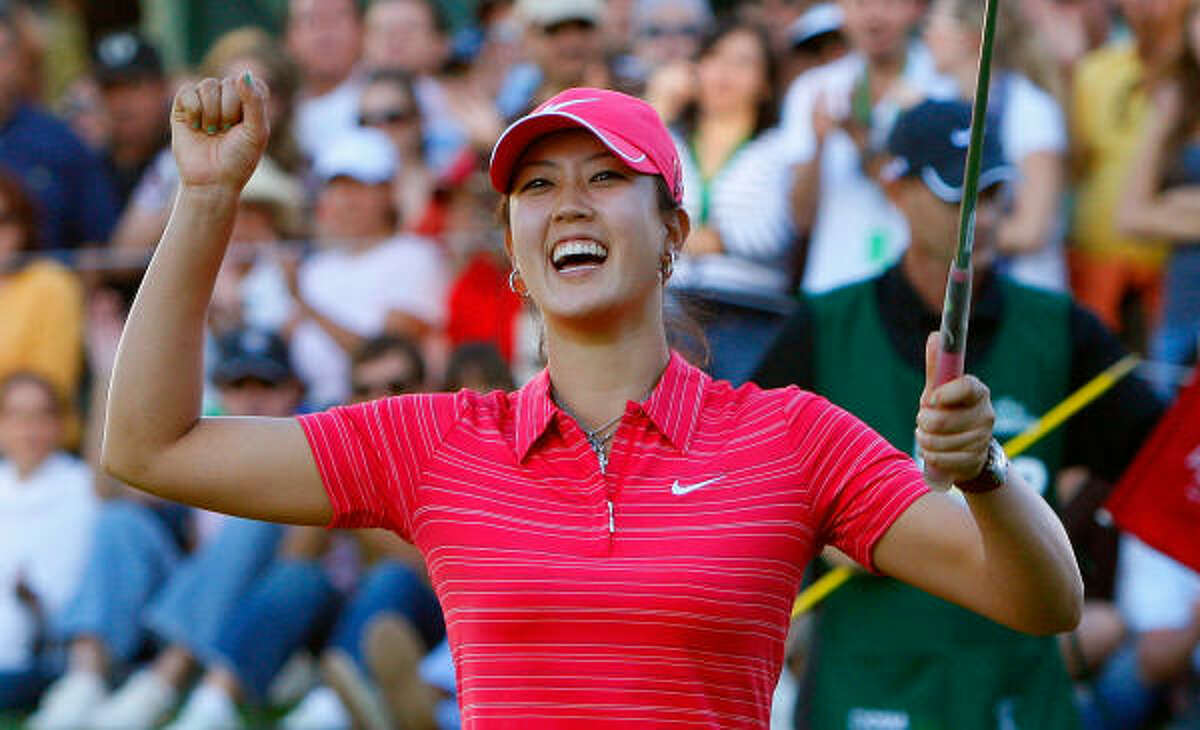 Michelle Wie hopped several times and kept pumping her right fist over and over. After all the expectations, her long wait was over.