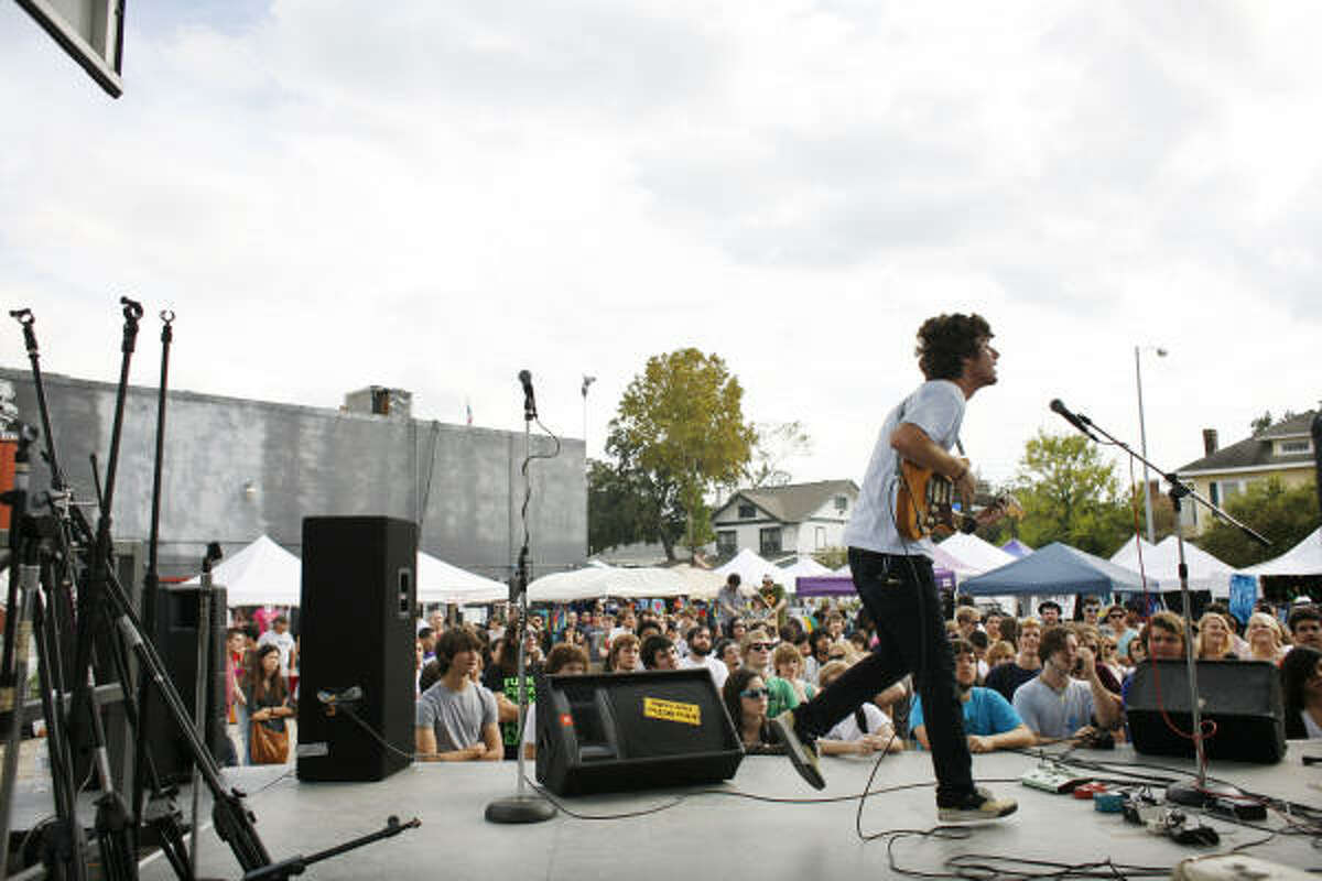 The band Caddywhompus performs at the Free Press Extravaganza, which lined up about 250 bands to play along the 300-500 blocks of Westheimer Road at venues such as Numbers, Mango's and Avant Garden. The event continues Sunday.