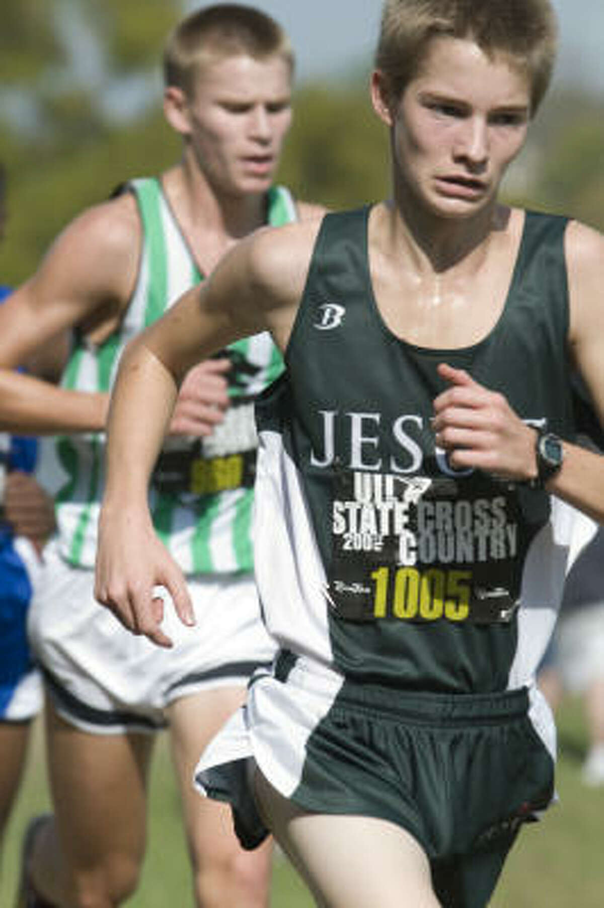 Strake Jesuit's Weston Novelli, front right, is shown during the 5A race. Behind him is Austin Geerts of Cedar Park.