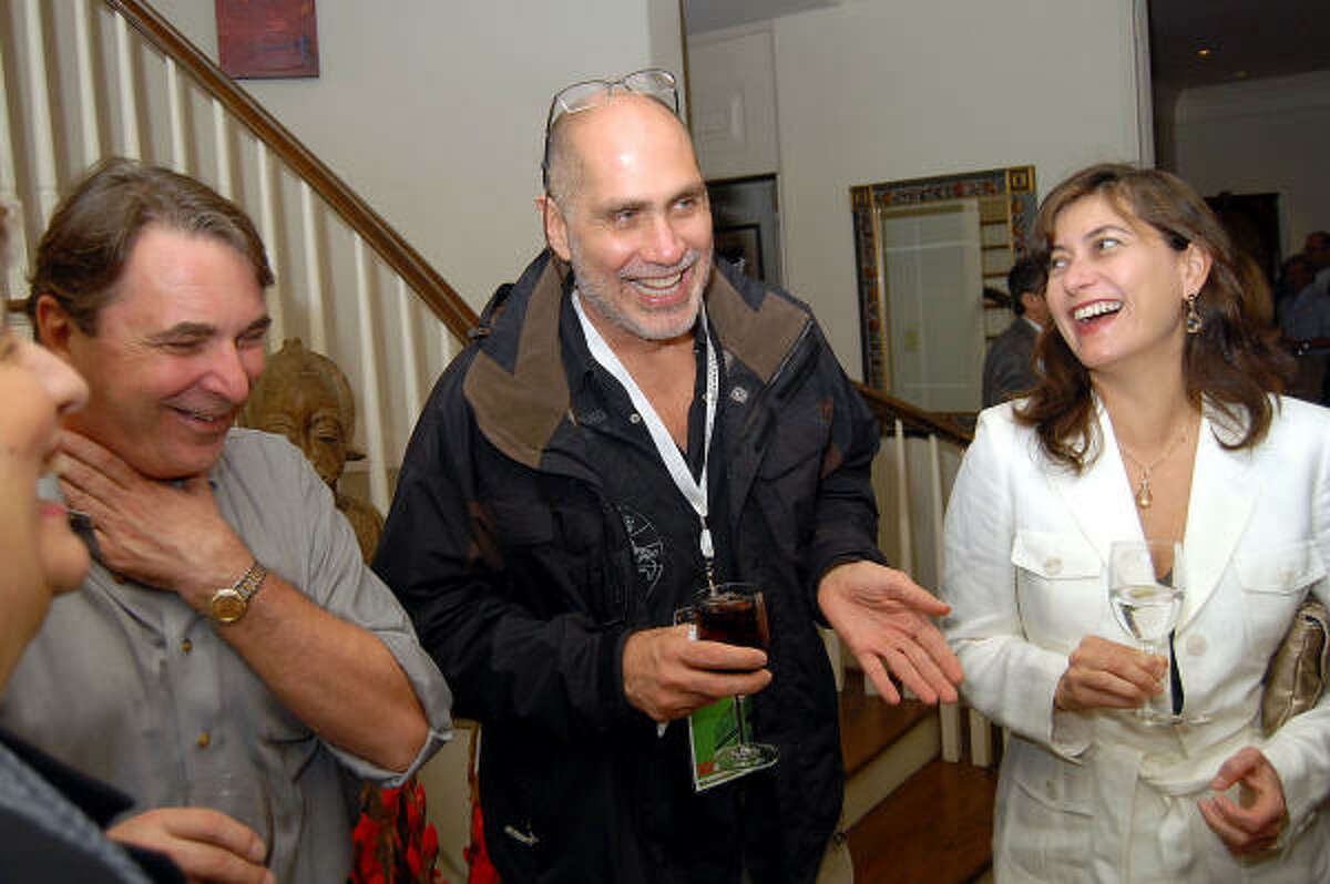 From left: Mark Wawro, Guillermo Arriaga and Maria Arriaga at a party honoring the screenwriter at Wawro and Melanie Gray's home.