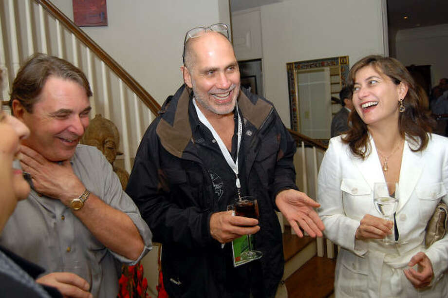 From left: Mark Wawro, Guillermo Arriaga and Maria Arriaga at a party honoring the screenwriter at Wawro and Melanie Gray's home. Photo: Dave Rossman, For The Chronicle