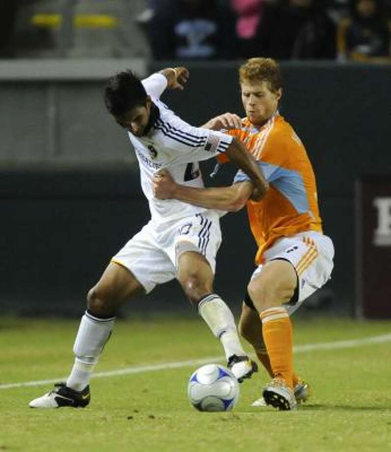 Houston acquired 29-year old fullback A.J. DeLaGarza from the LA Galaxy in exchange for $125,000 in General Allocation Money and $50,000 in Targeted Allocation Money. Photo: Gus Ruelas, AP