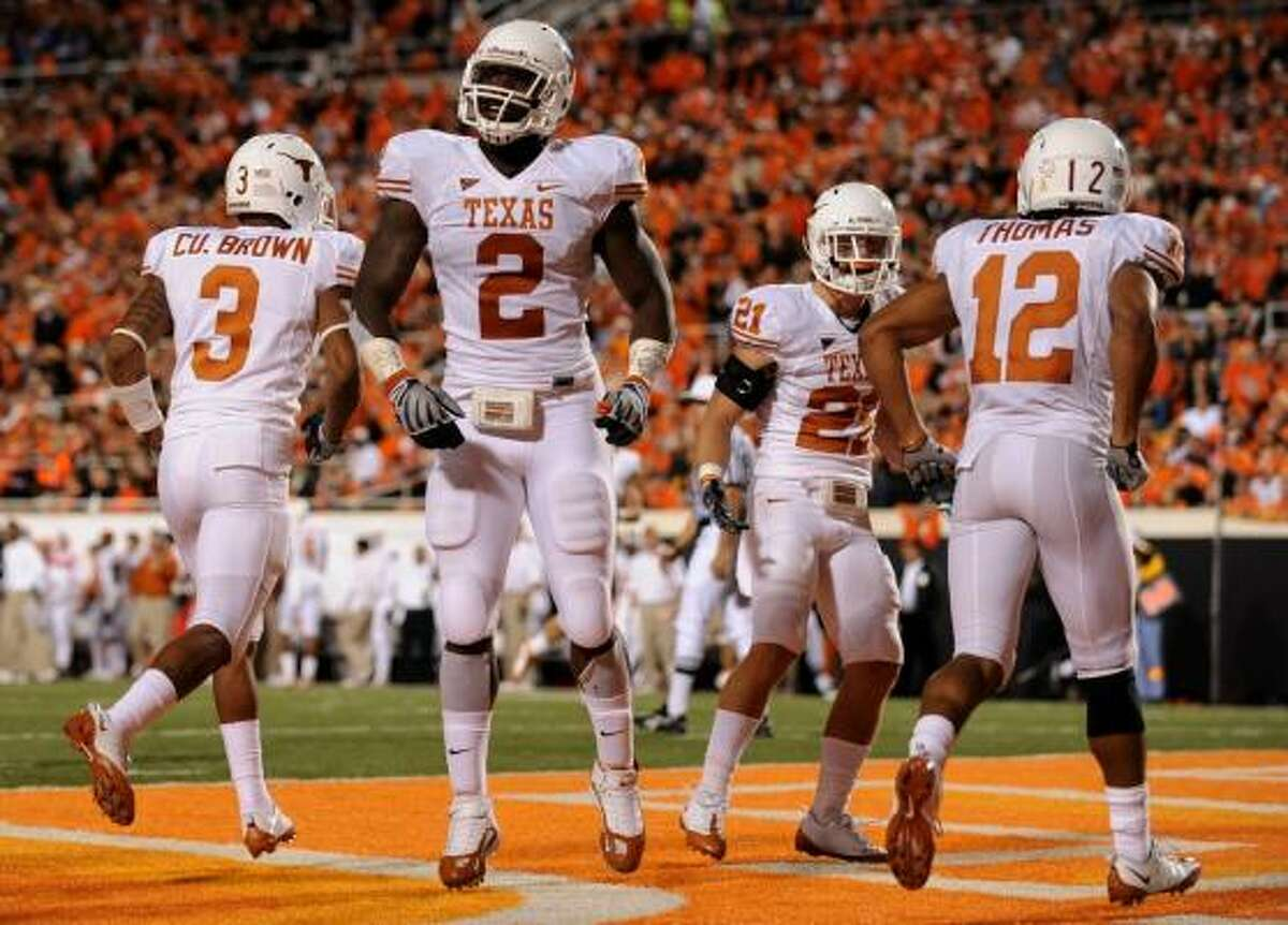 Texas (9-0, 5-0 Big 12) Preaseason AP ranking: No. 2. Current AP ranking: No. 2. Current win streak: 13 games. Case for the Longhorns: Two wins over ranked teams, No. 1 in the nation in total defense, opportunistic special teams (two TDs each on kickoff and punt returns, two blocked punts for TDs) and defense (three interception returns for TDs).