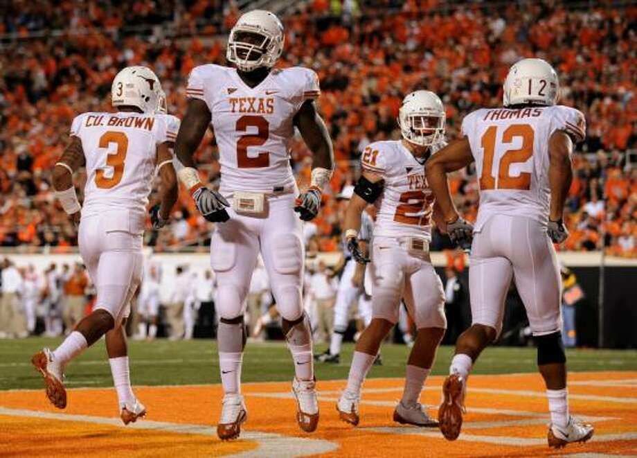 Texas (9-0, 5-0 Big 12)Preaseason AP ranking:No. 2. Current AP ranking: No. 2. Current win streak: 13 games. Case for the Longhorns: Two wins over ranked teams, No. 1 in the nation in total defense, opportunistic special teams (two TDs each on kickoff and punt returns, two blocked punts for TDs) and defense (three interception returns for TDs). Photo: Ronald Martinez, Getty Images