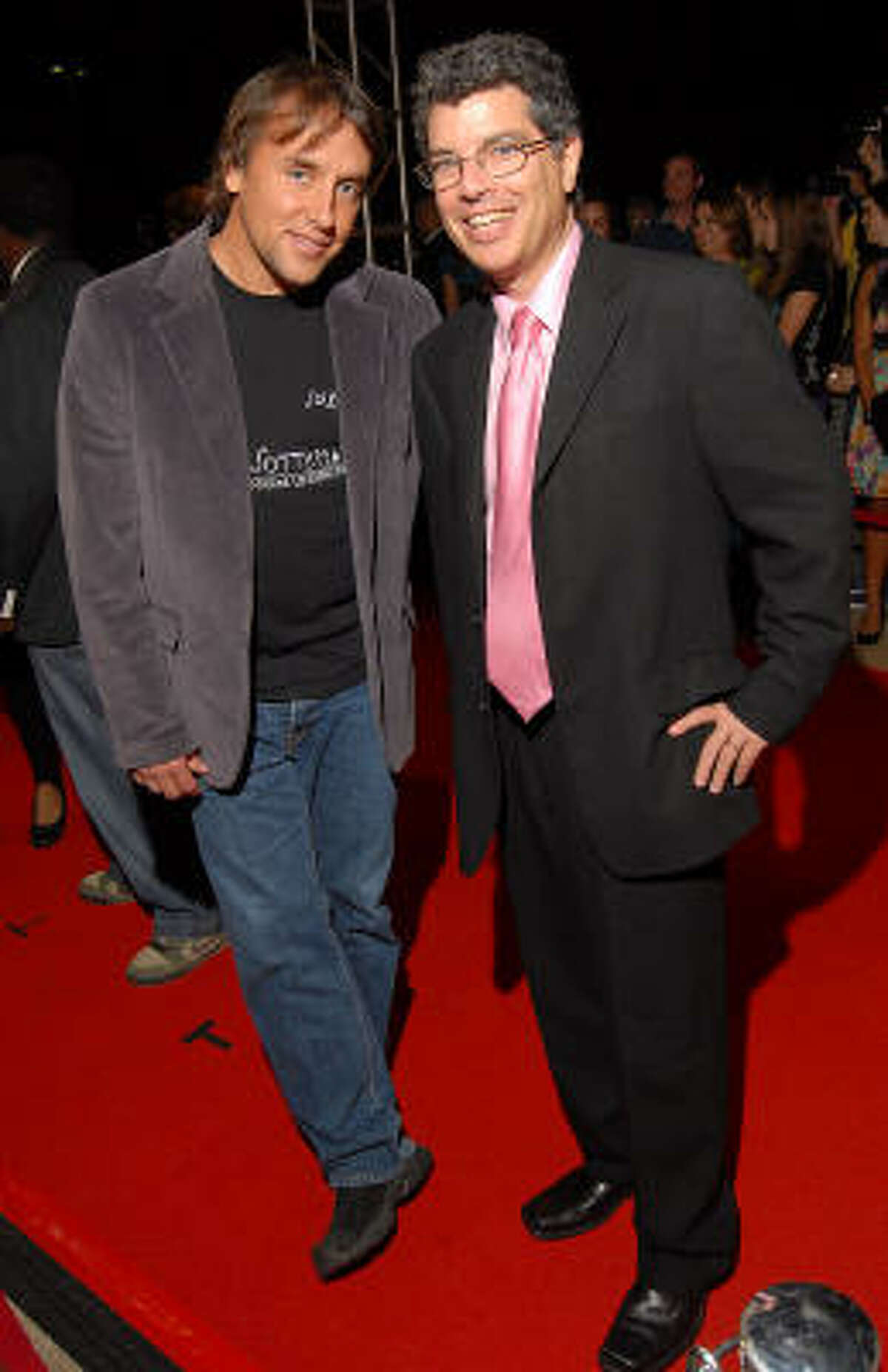 To kick off Cinema Arts Festival Houston, director Richard Linklater, at left, and festival curator Richard Herskowitz walk the red carpet outside Museum of Fine Arts Houston before a screening of Linklater's Me and Orson Welles.