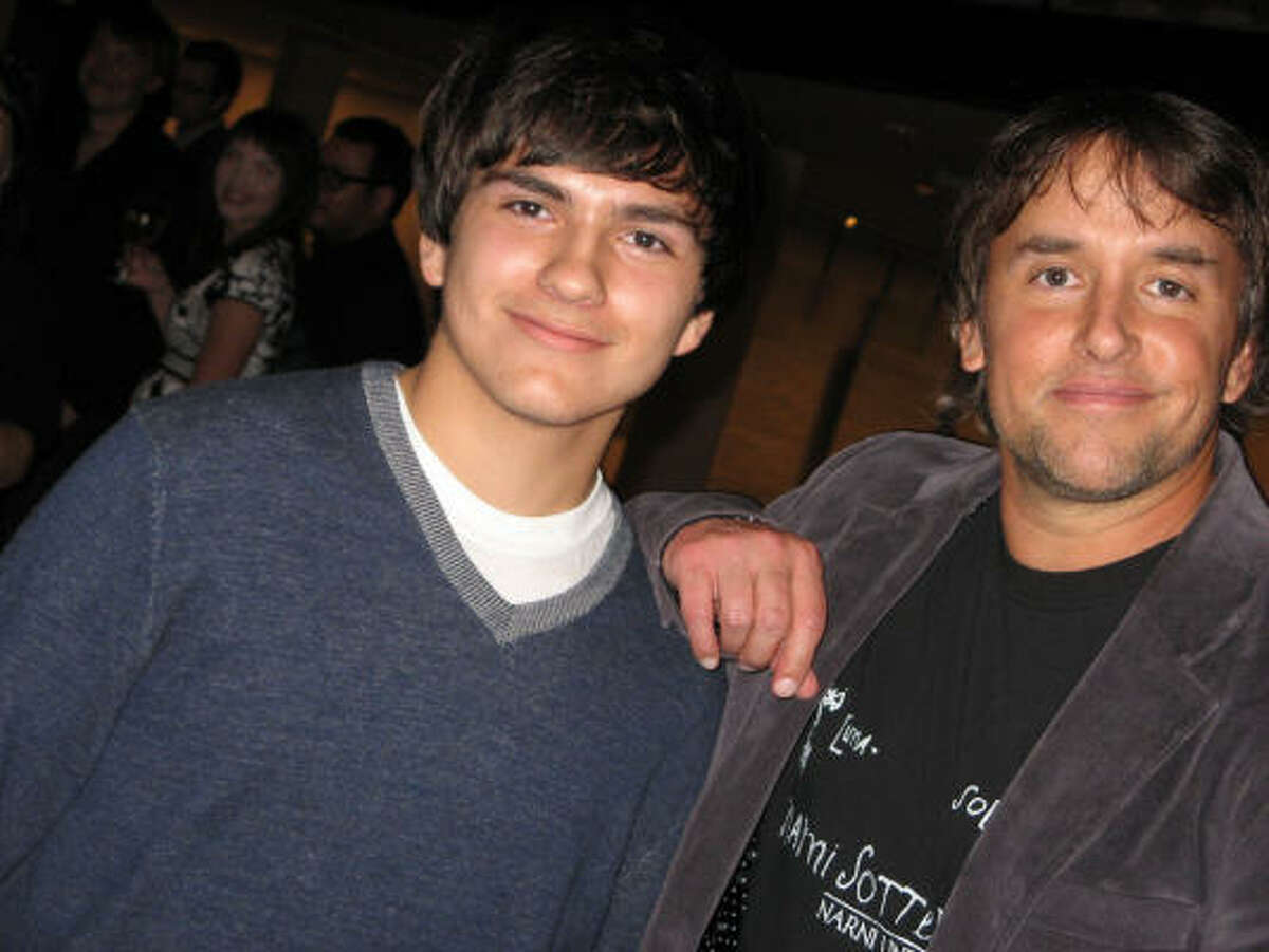 Bellaire High School sophomore Dylan Aguilar and director Richard Linklater, a Bellaire alum.