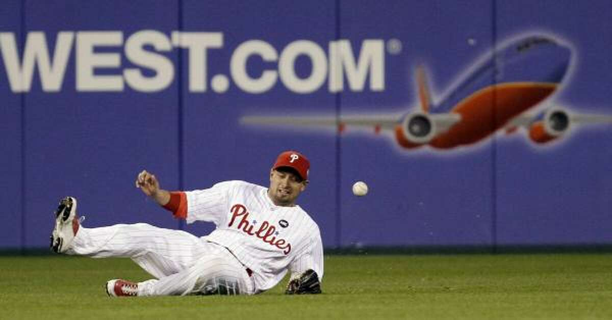 Outfielder The Phillies Shane Victorino is now a two-time winner, though he couldn't quite reach this ball hit by Derek Jeter in the World Series.