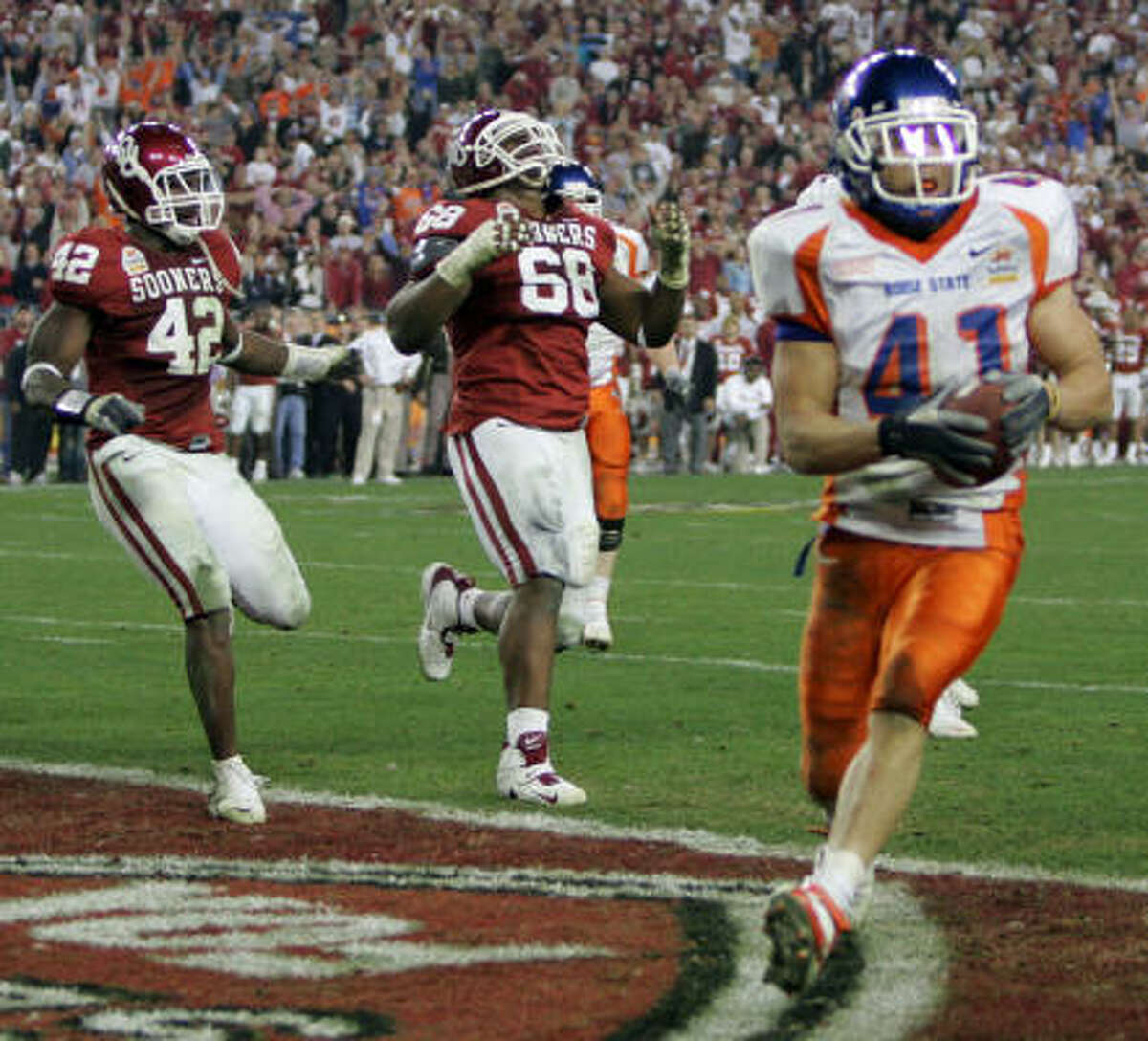 2006: Boise State Ian Johnson's game-winning two-point conversion finished off one of the best games in the brief history of the BCS as the Broncos beat Oklahoma 43-42 in double-overtime. Boise State has been a mainstay in the top 25 ever since.