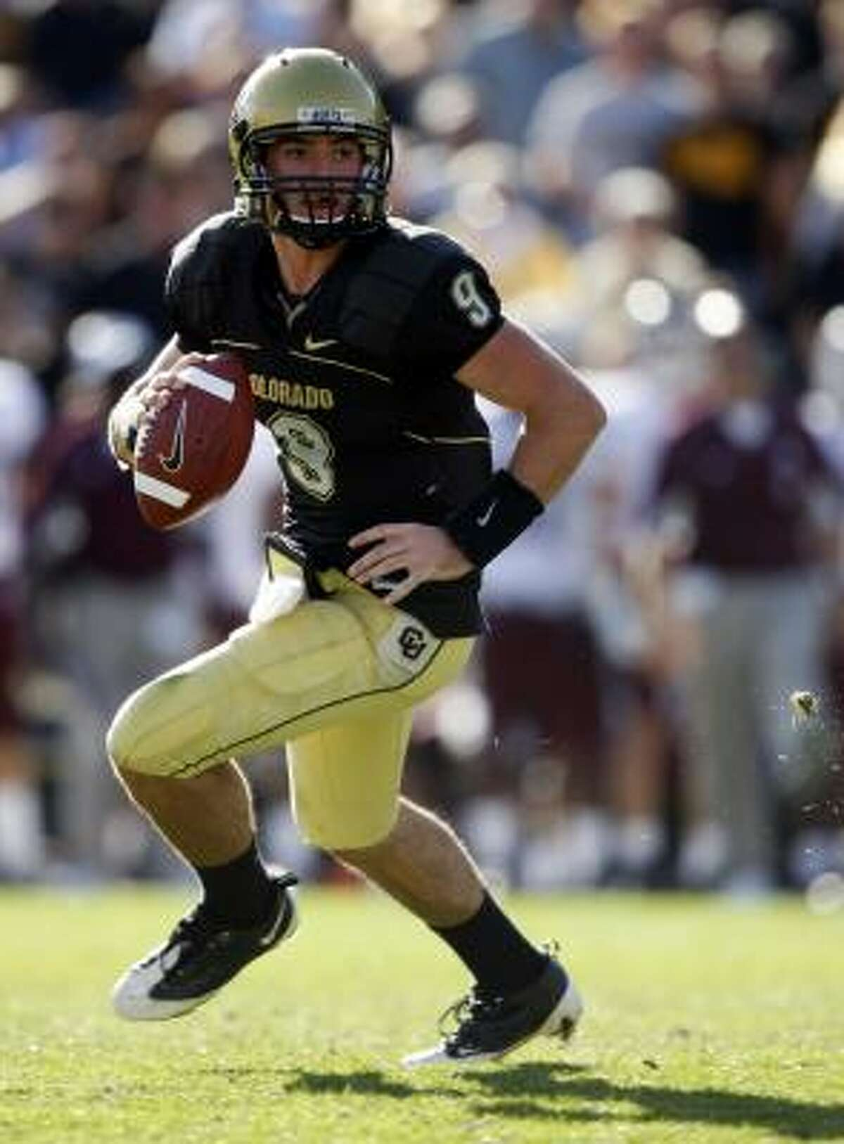 Colorado quarterback Tyler Hansen was sacked eight times but threw for 271 yards.