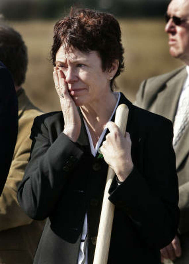 Deborah Borza, mother of Flight 93 passenger Deora Bodley, participates in the ground breaking for the Flight 93 National Memorial Saturday, Nov. 7, 2009 in Shanksville, Pa. Photo: Gene J. Puskar, AP