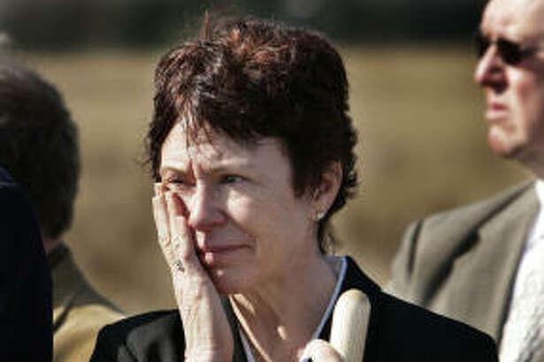 Deborah Borza, mother of Flight 93 passenger Deora Bodley, participates in the ground breaking for the Flight 93 National Memorial Saturday, Nov. 7, 2009 in Shanksville, Pa.