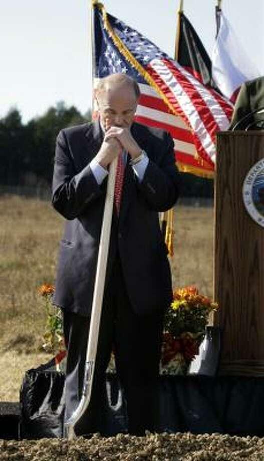 Gov. Ed Rendell leans on his shovel during the ground breaking for the Flight 93 National Memorial Saturday, Nov. 7, 2009 in Shanksville, Pa. Plans are for the memorial to be dedicated on Sept. 11, 2011. Photo: Gene J. Puskar, AP