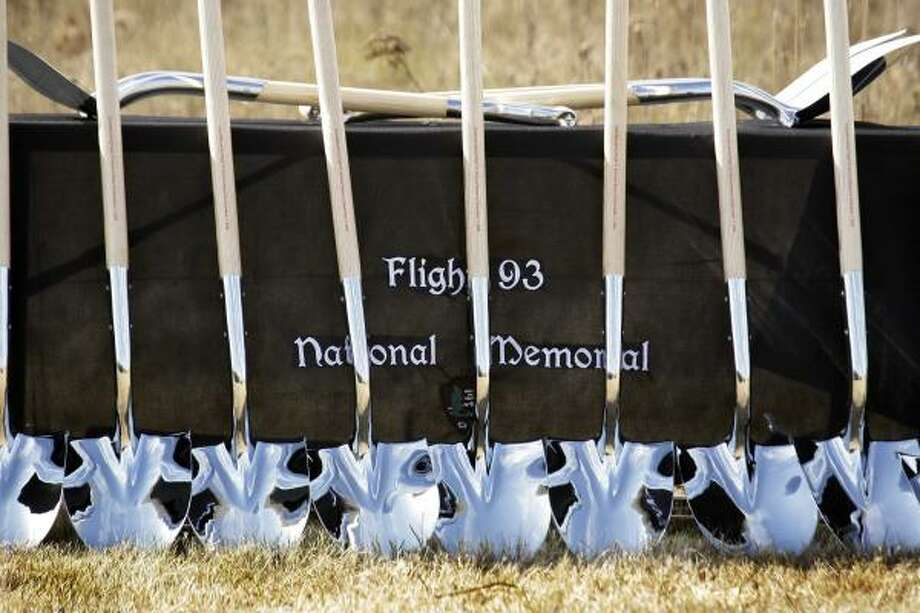 Shovels used in the ceremonial groundbreaking for the Flight 93 National Memorial, are lined up on a table before the event Saturday, Nov. 7, 2009 in Shanksville, Pa.. Plans are for the memorial to be dedicated on Sept. 11, 2011. Photo: Gene J. Puskar, AP