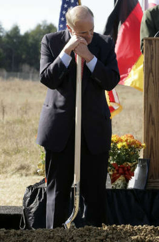 Gov. Ed Rendell leans on his shovel during the ground breaking for the Flight 93 National Memorial Saturday, Nov. 7, 2009 in Shanksville, Pa. Plans are for the memorial to be dedicated on Sept. 11, 2011. Photo: Gene J. Puskar, AP