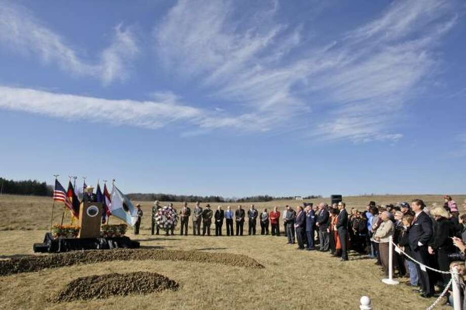 Secretary of the Interior Ken Salazar, left, makes remarks before leading the ground breaking for the Flight 93 National Memorial Saturday, Nov. 7, 2009 in Shanksville, Pa.. The dedication for the memorial is targeted for Sept. 11, 2011. Photo: Gene J. Puskar, AP