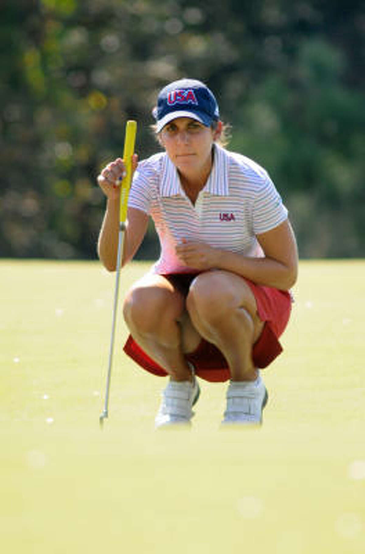Jennifer Johnson, a freshman at Arizona State, lines up a putt on the par-4 No. 5 hole during the second round of the 2009 Spirit International Championship on Thursday at Whispering Pines Golf Club in Trinity.
