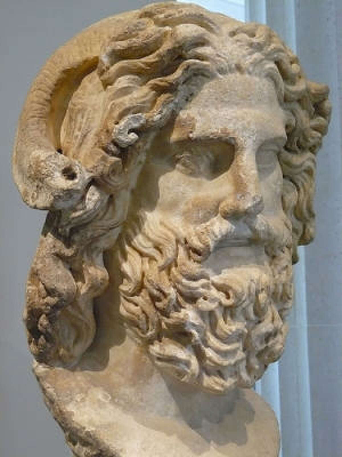 Greek Mythology Donning a beard goes as far back as ancient Greece. The Greek mythological gods Zeus, of whom a statue is pictured here, Poseidon and Hermes, Pan and Dionysus were all depicted with beards.
