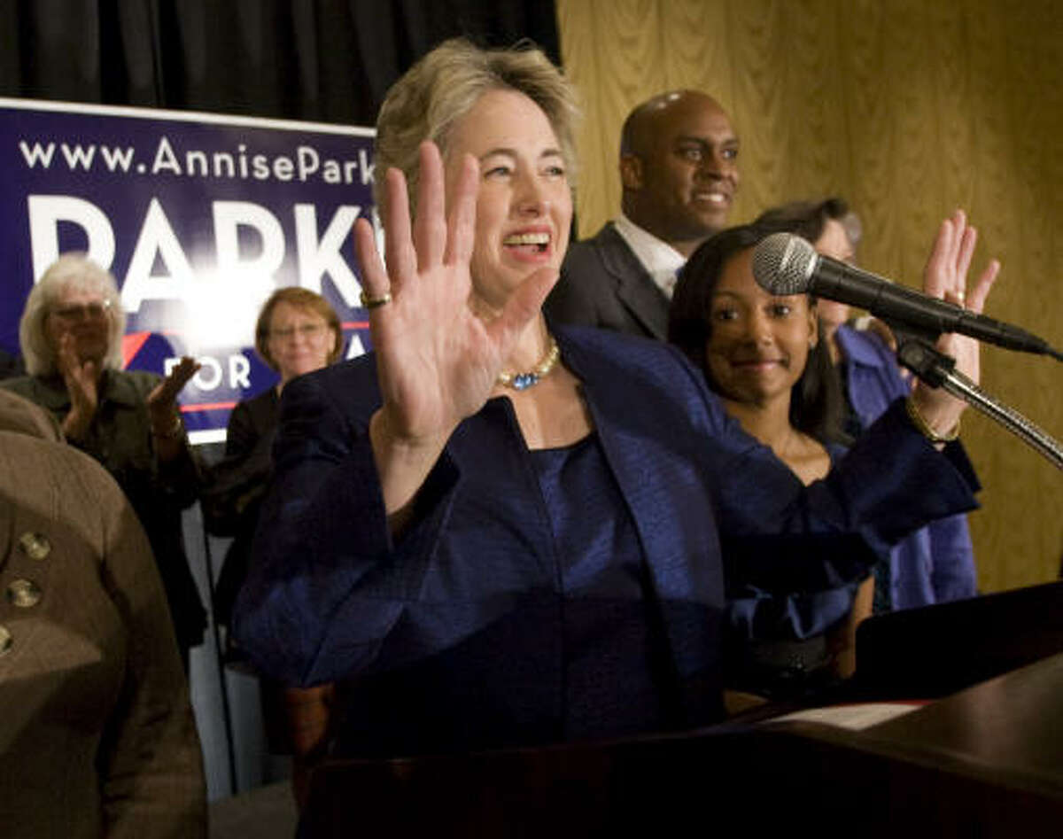 Mayoral candidate Annise Parker waves as she thanks supporters during an election watch party at the Hilton Americas Tuesday.