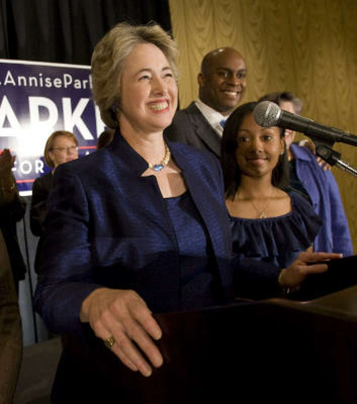 Mayoral candidate Annise Parker smiles as she thanks supporters during an election watch party at the Hilton Americas Tuesday.