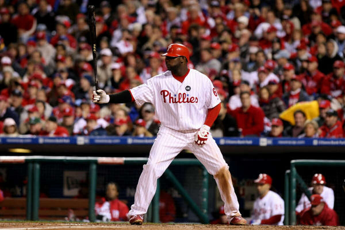 Phillies first baseman Ryan Howard gets set to bat against Yankees pitcher A.J. Burnett in the first inning.