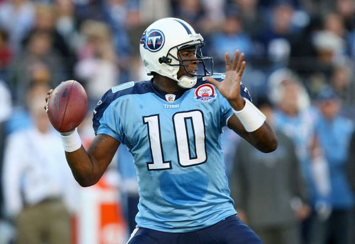 Nov. 23: Tennessee Titans Current record: 1-6 Series history: Titans lead 11-4. Last meeting: Texans won 34-31 on Sept. 20. What to watch for: Vince Young moved back into the starting job at quarterback and snapped the Titans' six-game losing skid with a 30-13 win against Jacksonville. In the first meeting, Chris Johnson burned the Texans for 197 rushing yards and two touchdowns. Johnson leads the NFL in rushing with 824 yards.