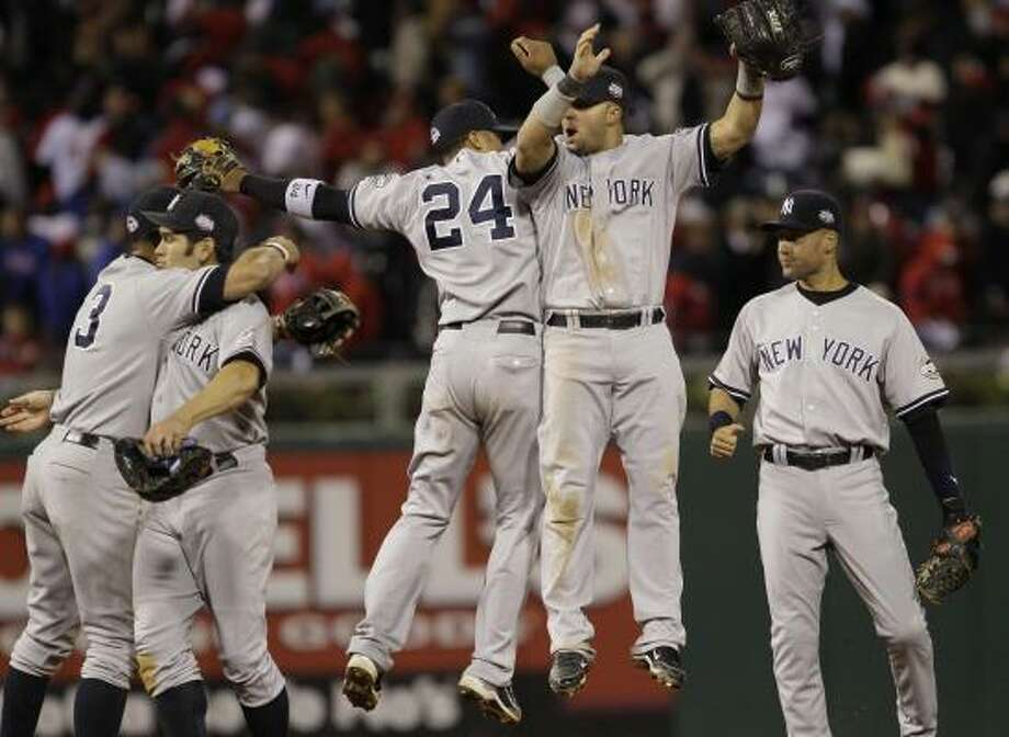 Game 4: Yankees 7, Phillies 4The New York Yankees celeberate after defeating the Philadelphia Phillies in Game 4 of the World Series. The Yankees have a 3-1 series lead and can capture their 27th World Series title with a win in Monday's Game 5 in Philadelphia. Photo: David J. Phillip, AP