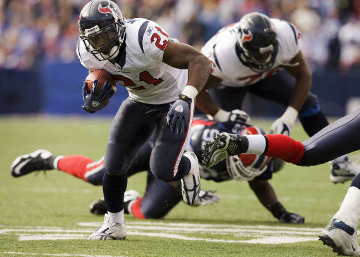 Ryan Moats finished with a career-high 23 carries for 126 yards and three touchdowns in place of Slaton, who lost a fumble on the Texans' third possession and was benched for the rest of the game.