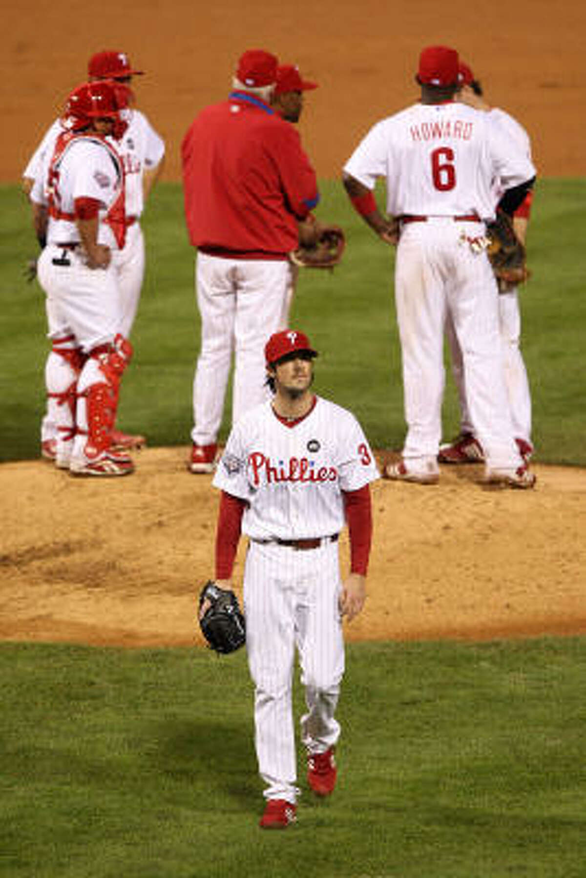 Cole Hamels did not last long for the Phillies, departing after 4 1/3 innings.