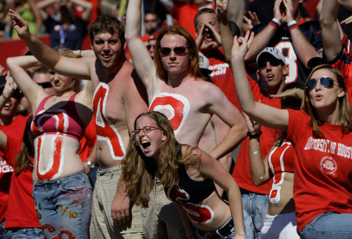 UH fans cheer on the team during the fourth quarter.