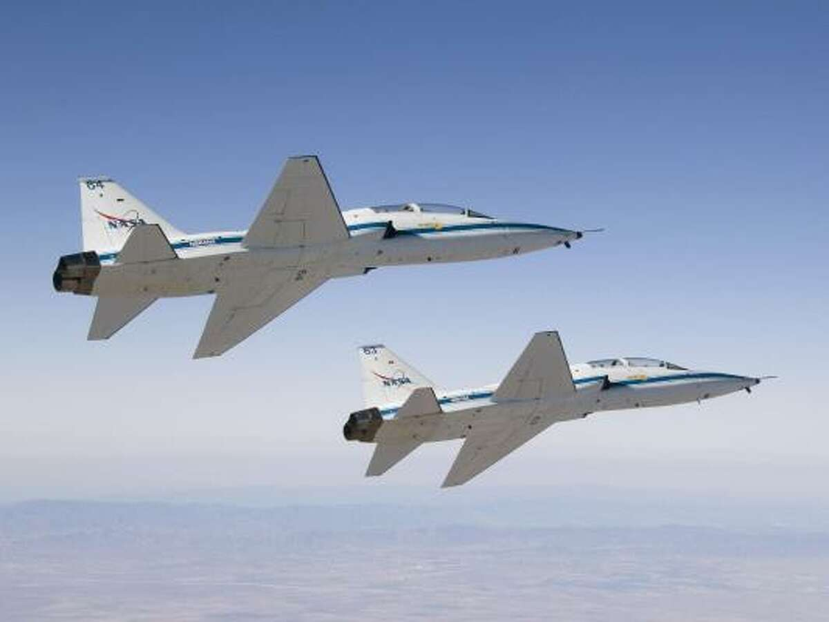 NASA keeps a couple dozen T-38 Talons at Ellington, trainers that are mostly used by astronauts to put in practice hours and get to places like Florida's Kennedy Space Center. The Northrop Grumman supersonic jet has been around for over 50 years. Learn more about T-38's.