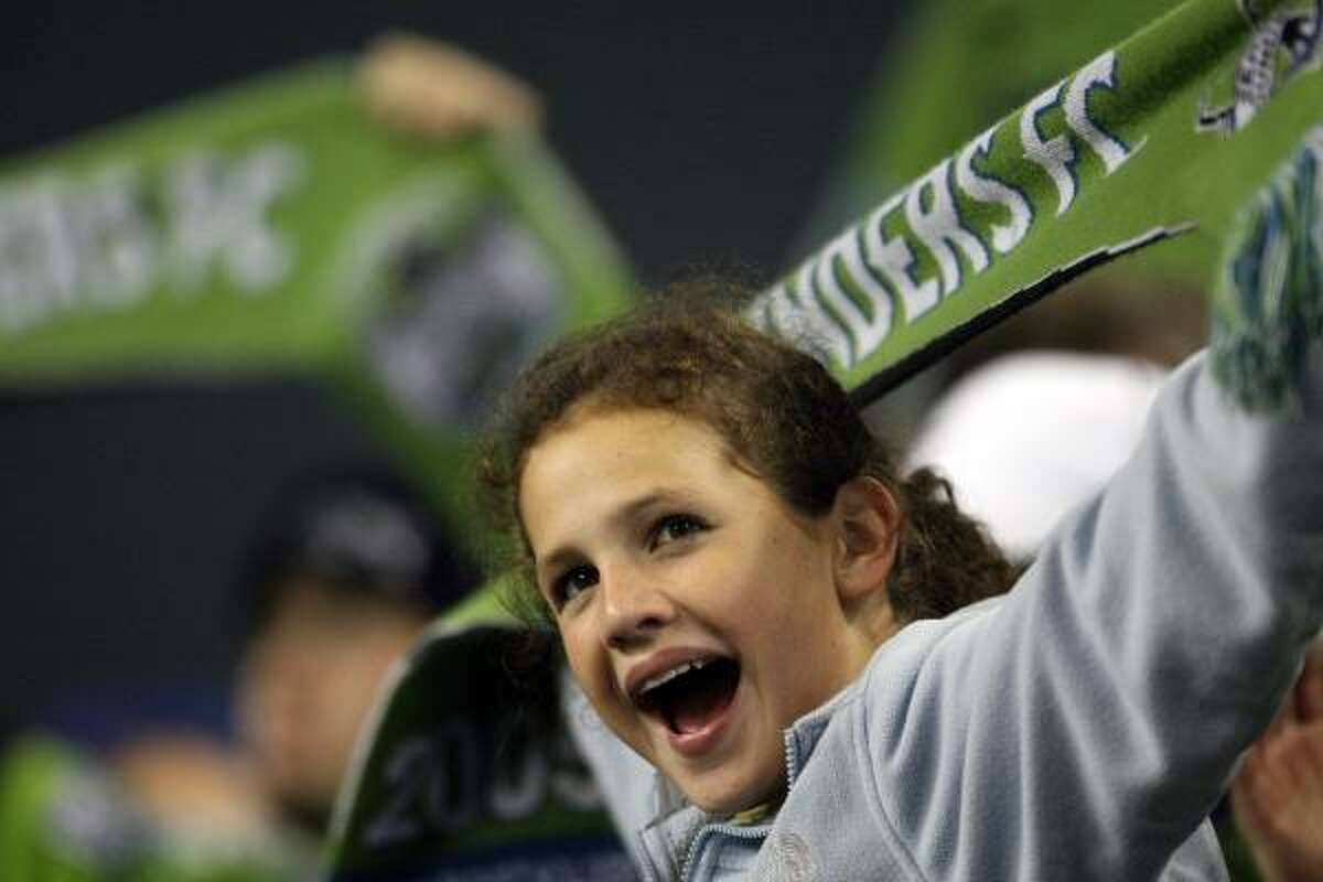 Gabrielle Hansen, 12, cheers on the Sounders.